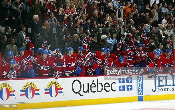 Members of the Montreal Canadiens celebrate their win over the New York Rangers February 19, 2008 at the Bell Centre in Montreal, Quebec, Canada. The...