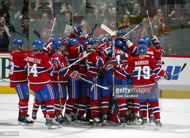 Members of the Montreal Canadiens celebrate their win over the New York Rangers February 19 2008 at the Bell Centre in Montreal Quebec Canada The...