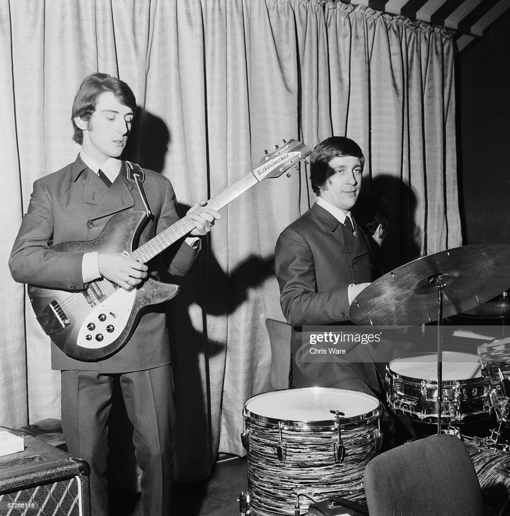 Members of The Moody Blues pop group, sound-checking on