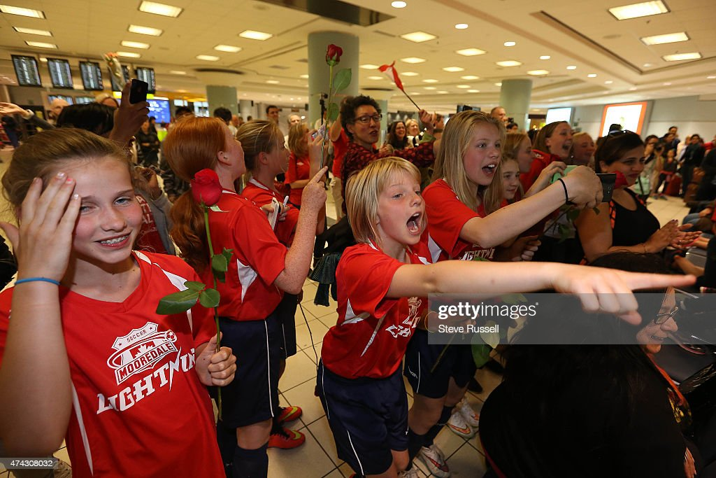 Team Canada Women's soccer team arrives ahead of the FIFA Women's World Cup at Terminal 3 : News Photo