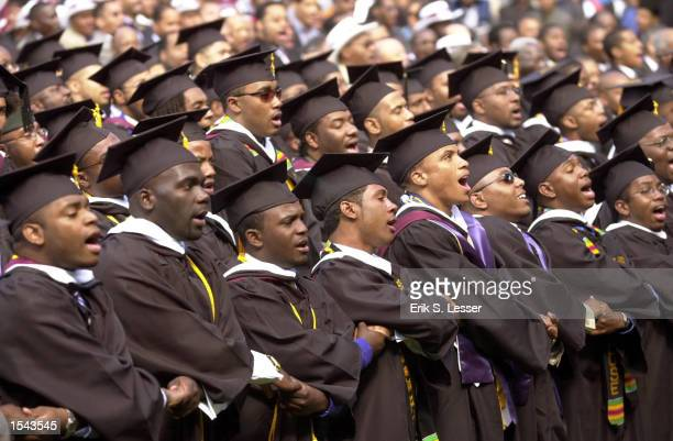 Members of the Morehouse College 2002 graduating class sing their school song during commencement ceremonies May 19 2002 in Atlanta About 500 men...
