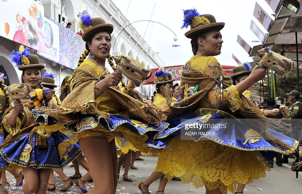 Members of the Morenada Central Cocanis de Oruro brotherhood take part in Carnival of Oruro, in the mining town of Oruro, 240 km south of La Paz on February 9, 2013. The Carnival of Oruro was inscribed by UNESCO on the Representative List of the Intangible Cultural Heritage of Humanity in 2008.