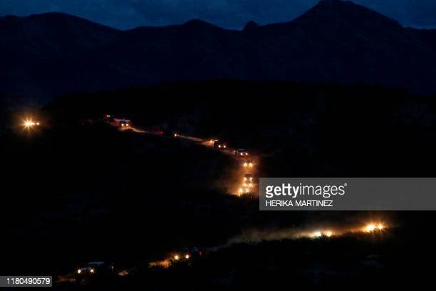 Members of the Mormon community Lebaron arrive in a convoy from the United States to the municipality of Bavispe in the Sonora mountain range Mexico...