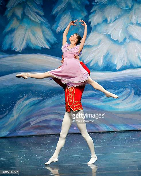 Members of the Moscow Ballet perform the Waltz of the Snowflakes on stage during the Moscow Ballet's Great Russian Nutcracker at the Hammerstein...