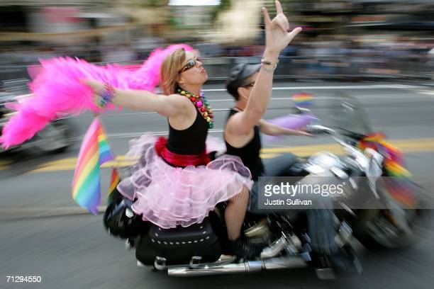 """Members of the motorcycle group """"Dykes on Bikes"""" ride during the 36th annual LGBT Pride Parade June 25, 2006 in San Francisco. Hundreds of thousands..."""