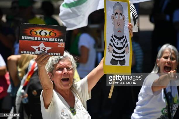 Members of the movement Brasil Livre demonstrate against former Brazilian president Luiz Inacio Lula da Silva in Sao Paulo Brazil on January 24 2018...