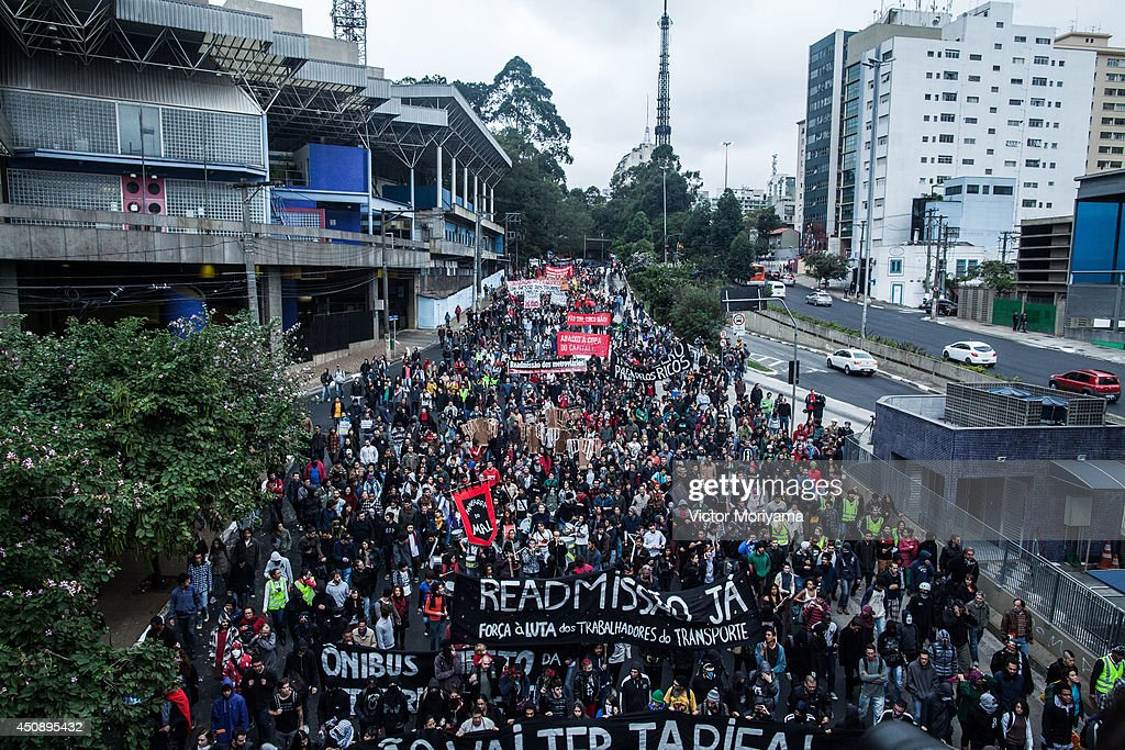 Activists Protest Transport Fees Before World Cup Match In Sao Paulo : News Photo