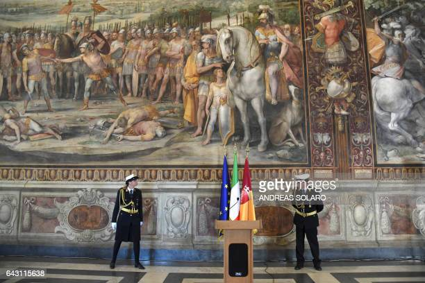Members of the municipal police attend the inauguration of the 'Hall of the Horatii and Curiatii' following its restoration on February 20 2017 at...