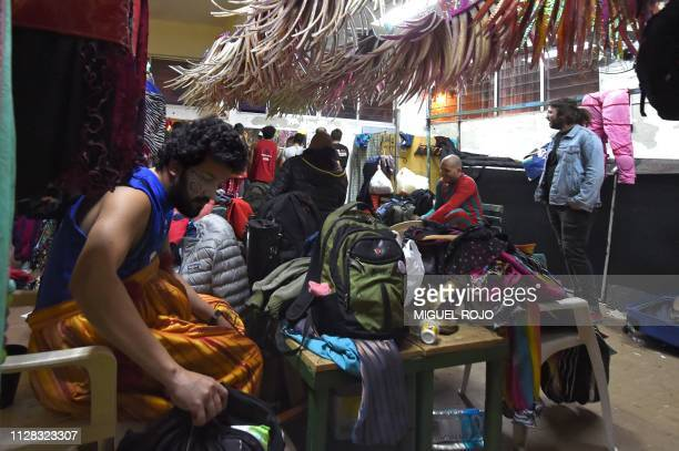 Members of the murga Agarrate Catalina get ready before their performance in Montevideo on February 28 2019 Since the beginning of the XX century...