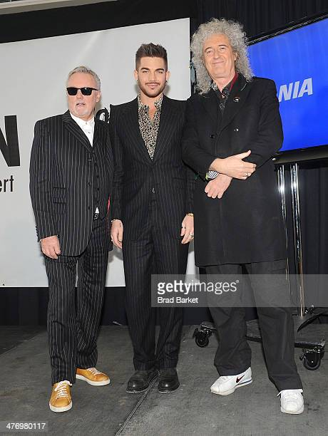 Members of the music group Queen Roger Taylor and Brian May with Adam Lambert attend the 'Queen And Adam Lambert' press conference at Madison Square...