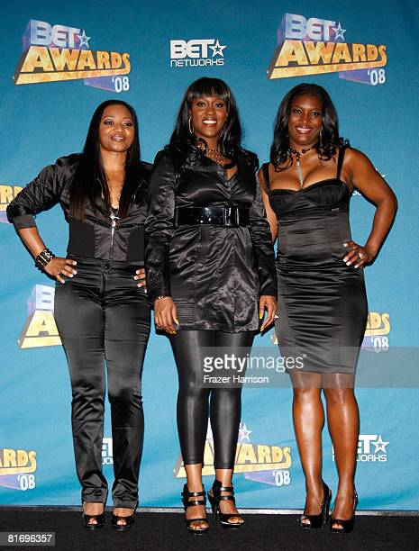 Members of the musical group 'SWV' pose in the press room at the 2008 BET Awards held at the Shrine Auditorium on June 24 2008 in Los Angeles...
