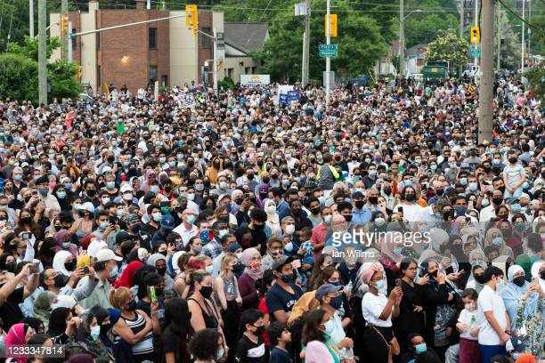 Members of the Muslim community and supporters gather for a vigil at the London Muslim Mosque on June 8, 2021 in London, Canada. The event was held...