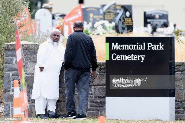 Members of the Muslim community arrive at Memorial Park Cemetery prior to the first burials of victims on March 18 2019 in Christchurch New Zealand...