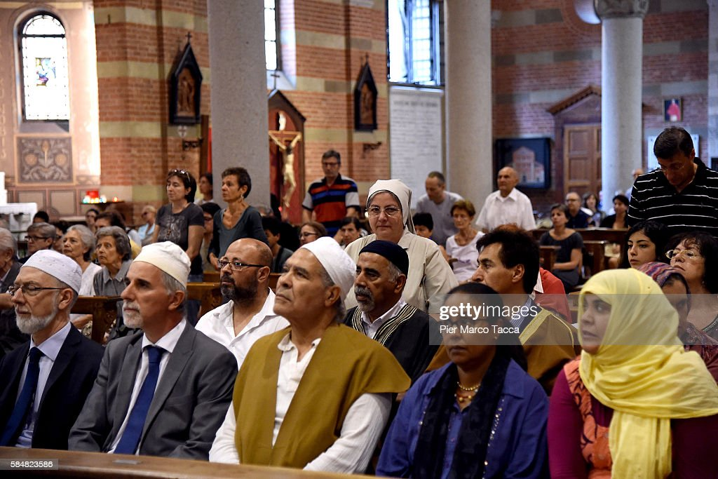 Muslim Communities Express  Solidarity For Murdered French Priest In Catholic Churches : News Photo