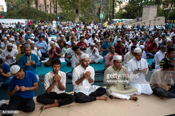 Members of the Muslim community pray to commemorate the festival of the Sacrifice Eid AlAdha Islam's most important holiday on September 1 2017 in...