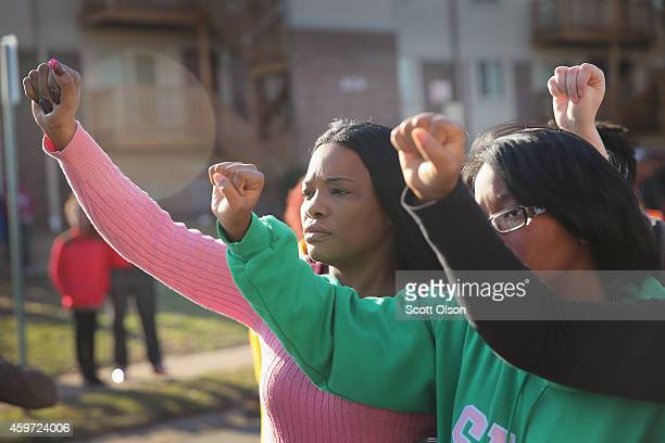 Members of the NAACP and their supporters arrive at the Michael Brown memorial to start a Journey for Justice sevenday 120mile march from the...