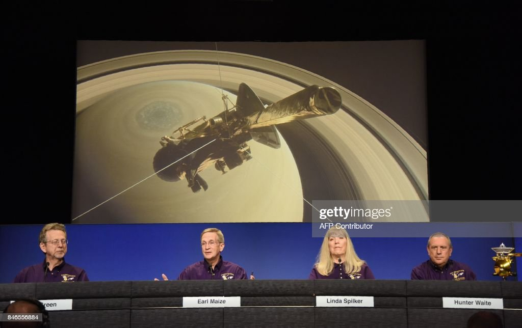 Members of the NASA Cassini Mission Team speak at an end of mission preview news briefing on September 13, 2017, at NASA's Jet Propulsion Laboratory in Pasadena, California. Team members (L-R) are NASA Director of Planetary Science Jim Green, Cassini Project Manager Earl Maize, Cassini Project Scientist Linda Spilker and Hunter Waite, team lead for Cassini Ion and Neutral Mass Spectrometer. / AFP PHOTO / Robyn Beck