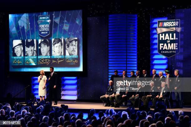 Members of the NASCAR Hall of Fame pose for a photo opportunity following the NASCAR Hall of Fame Induction Ceremony at Charlotte Convention Center...