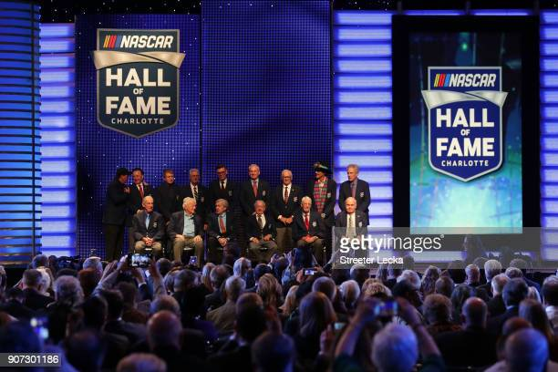 Members of the NASCAR Hall of Fame pose for a picture after the NASCAR Hall of Fame Induction Ceremony at Charlotte Convention Center on January 19...
