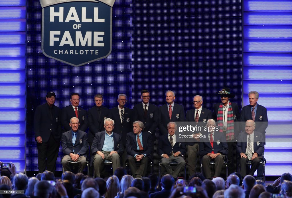 Members of the NASCAR Hall of Fame pose for a picture after the NASCAR Hall of Fame Induction Ceremony at Charlotte Convention Center on January 19, 2018 in Charlotte, North Carolina.