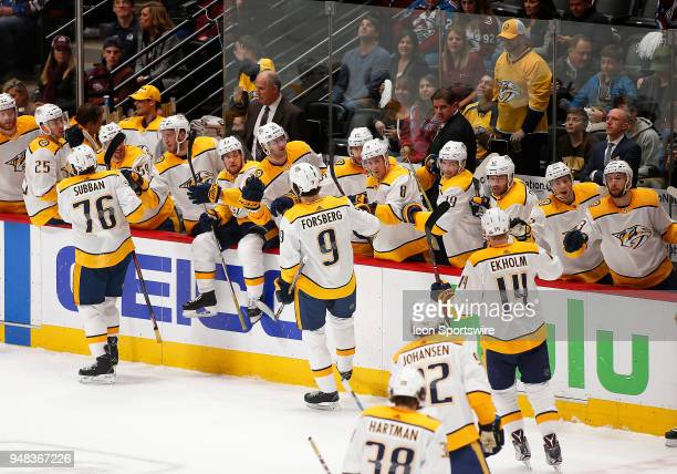 Members of the Nashville Predators congratulate Nashville Predators left wing Filip Forsberg following a first period goal during a first round...