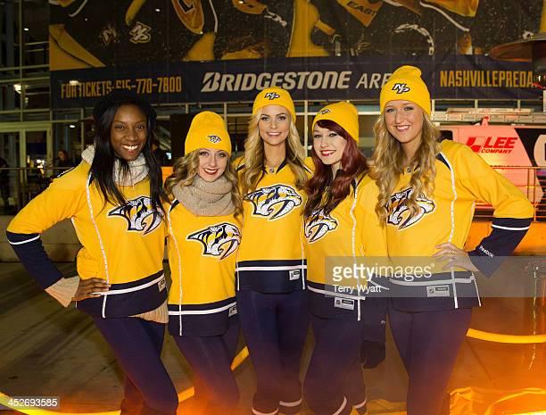 Members of the Nashville Predators Energy Team attend the Dunkin' Donuts Nashville Predators Thanksgiving Weekend Plaza party at Bridgestone Arena on...