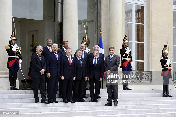 Members of the National Assemblies presidents conference pose on the steps of the Elysee presidential palace in Paris on September 9 2011 Britain's...