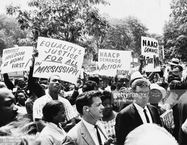 Members of the National Association for the Advancement of Colored People protesting against the disappearance of three civil rights activists from...