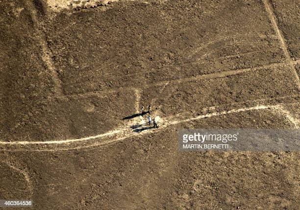 Members of the National Culture Institute of Peru evaluate damages at a milleniaold archaeological site after Greenpeace activists displayed a...