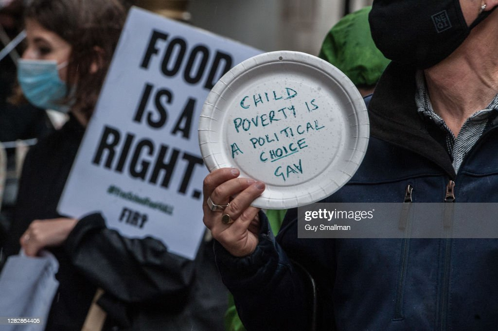 Protest For Access To Free School Meals Takes Place At The Department For Education : News Photo