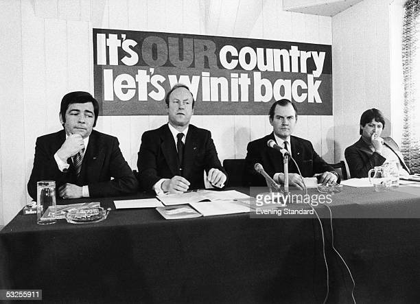 Members of the National Front organisation speaking to the press during their Manifesto Conference 18th April 1978 From left to right Richard Verrall...