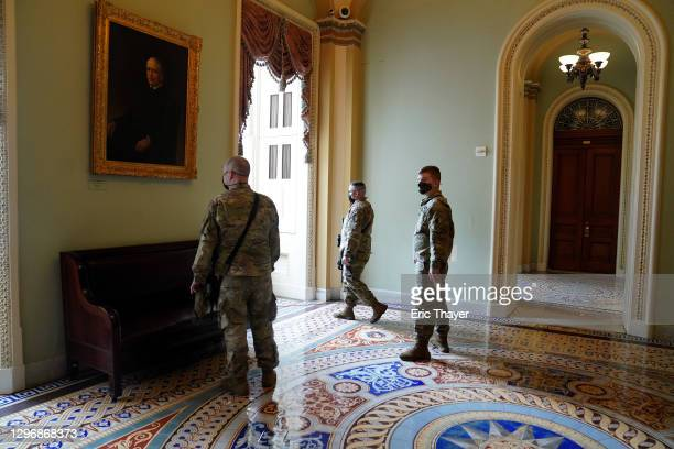 Members of the National Guard are posted in the U.S. Capitol on January 17, 2021 in Washington, DC. After last week's riots at the U.S. Capitol...