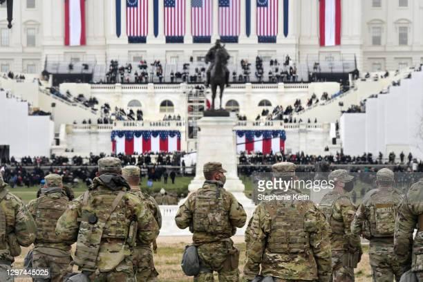 Members of the National Guard gather near the U.S. Capitol before the inauguration of U.S. President-elect Joe Biden and Vice President-elect Kamala...