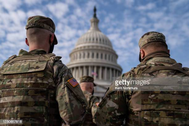 Members of the National Guard in the plaza in front of the U.S. Capitol Building on Sunday, Jan. 17, 2021 in Washington, DC. After last week's riots...