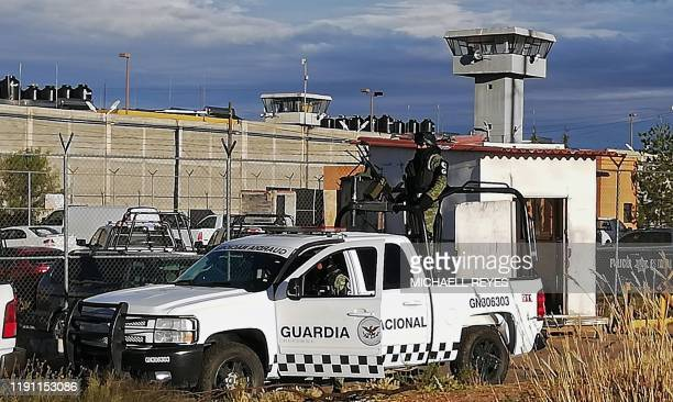 Members of the National Guard remain outside the Regional Center for Social Reinsertion after a riot in Zacatecas Mexico on December 31 2019 A prison...