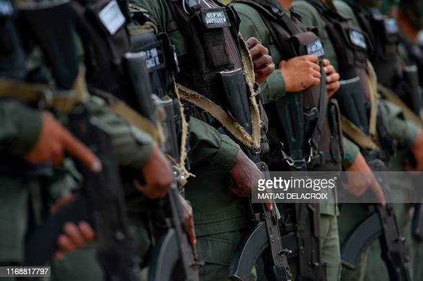 Members of the National Guard take part in military exercises to activate the integral defense entities of Miranda State, in the framework of...