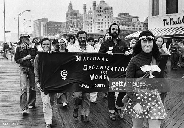 Members of the National Organization of Women parade down the boardwalk in Atlantic City New Jersey 9/7 NOW is holding their national convention this...