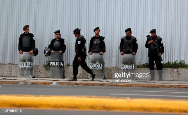 Members of the National Police of Nicaragua are deployed in the streets of Managua on January 24 2019 Political oppression and violence have surged...