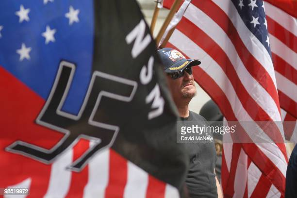 Members of the National Socialist Movement rally near City Hall on April 17 2010 in Los Angeles California An NSM antiillegal immigration rally in...