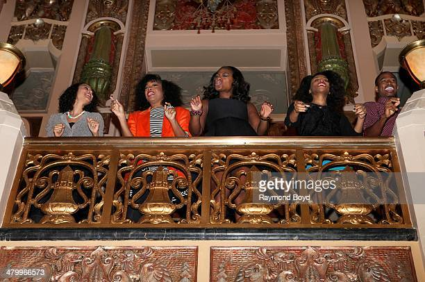 Members of the national touring company of Motown The Musical performs at the Oriental Theater Ford Center for the Performing Arts on March 20 2014...