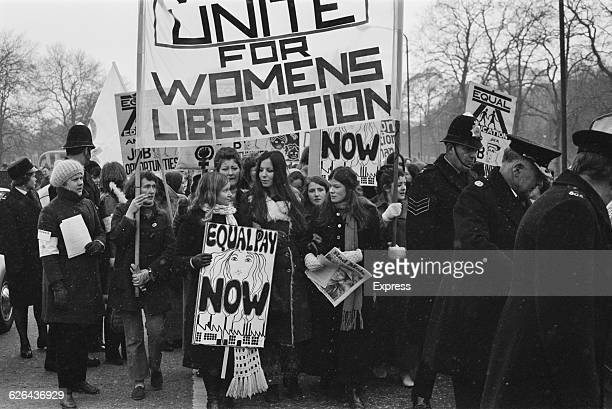 Members of the National Women's Liberation Movement, on an equal rights march from Speaker's Corner to No.10 Downing Street, to mark International...