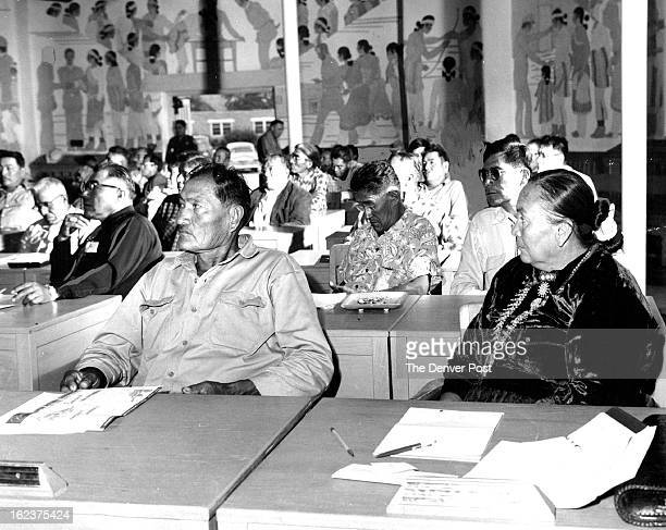 JUN 17 1956 Members of the Navajo Tribal Council meet to approve $425890 in tribal funds for industrial development both on the reservation and in...
