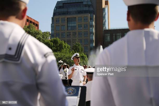Members of the Navy Band perform in New York's Washington Square Park as part of Fleet Week festivities May 24 2018 in New York City Fleet Week which...
