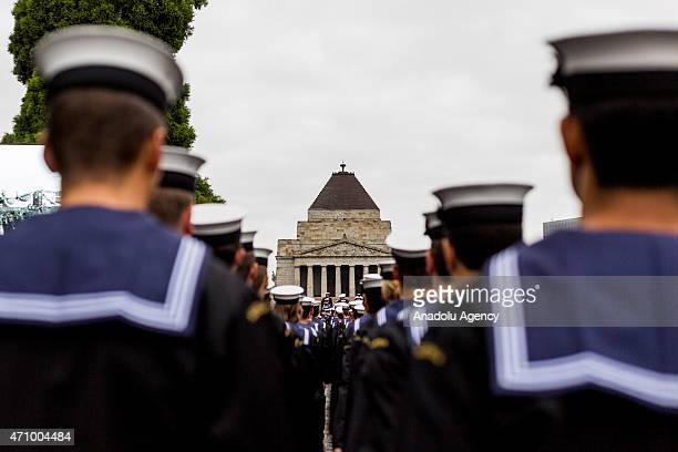 Members of the Navy March towards the Shrine of Remembrance during the Anzac Day parade in Melbourne Victoria Australia on April 25 2015This years...