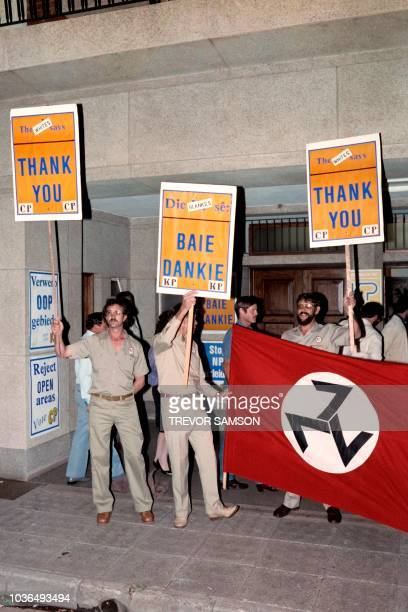 Members of the neoNazi movement AWB held palcards thanking the Conservative party for their segregation of public amenities in Boksburg and other...