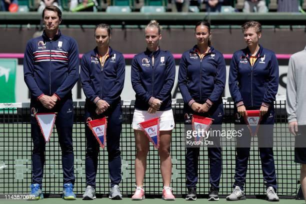 Members of the Netherlands Fed Cup team team captain Paul Haarhuis Bibiane Schoofs Richel Hogenkamp Lesley Kerkhove and Demi Schuurs line up at the...