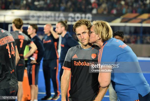 Members of the Netherlands side cut dejected figures during the FIH Men's Hockey World Cup Final between Belgium and the Netherlands at Kalinga...