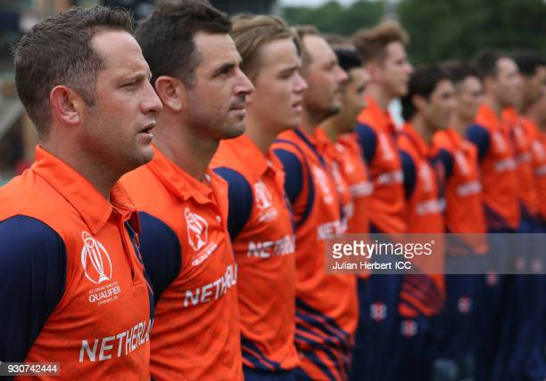 Members of The Netherlands team during the playing of The National Anthems before The ICC Cricket World Cup Qualifier between The West Indies and The...