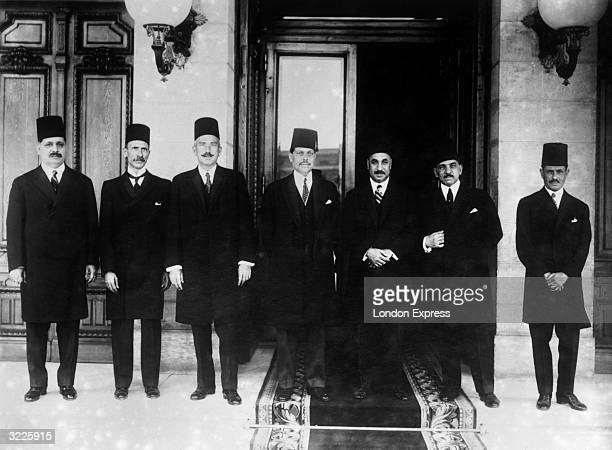 Members of the new Egyptian Government the third of that year From left to right Ibrahim Fahmy Bey Loutfi El Sayed Bey Gaafar Waly Pasha Prime...