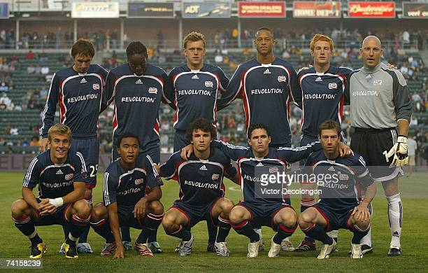Members of the New England Revolution pose for a team photo prior to their MLS match against the Los Angeles Galaxy at The Home Depot Center on May...